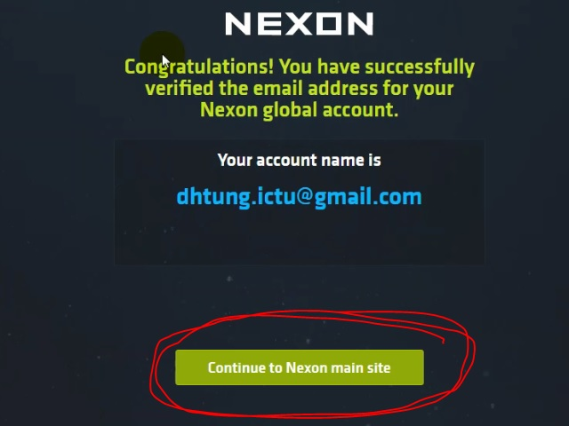 Nhấn Continue to Nexon main site